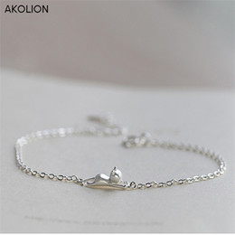 wholesale adjustable silver snake chains Canada - AKOLION Silver Cat Animal Bracelet S925 Charms Chain Adjustable Bracelet for Girls Women Christmas Gift