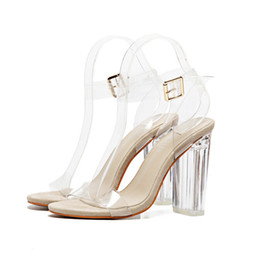 5a302f2b9d3f New Pattern High-heeled Shoes Pump With A Toe Show Crystal Shoes  Transparent Thick Heel Sandals Women Shoes Big Code 43