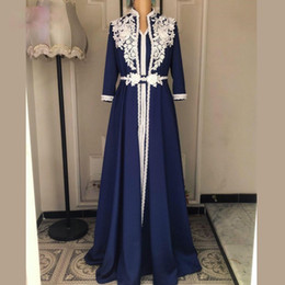 $enCountryForm.capitalKeyWord Australia - Navy Blue A Line Muslim Evening Dresses with White Appliques 3D Flower High Neck Pearl Arabic Dubai Satin Formal Gowns