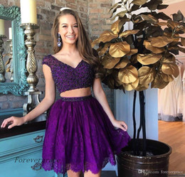 15 dresses pieces Canada - 2019 Fashion Lace Purple Short Homecoming Dress A Line Beadings Top Juniors Sweet 15 Graduation Cocktail Party Dress Plus Size Custom Made