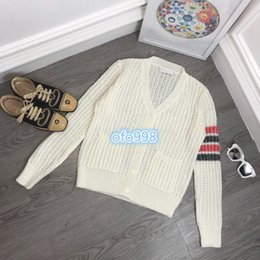 $enCountryForm.capitalKeyWord Australia - Women girls Knit cardigan v-neck Single row button Colored horizontal stripes hollowed out Long Sleeve Cardigan tee coat Knit cardiga
