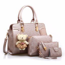 Composite Bearings UK - 4 PCS Set Women Bag Composite Bags Women pu Leather Shoulder bag Women Crossbody Messenger Bags Luxury Handbag With Bear Doll