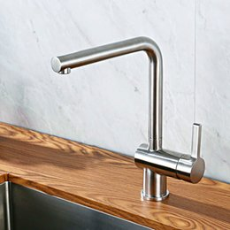 $enCountryForm.capitalKeyWord NZ - Kitchen Sink Faucet Stainless Steel Brushed Deck Mounted Solid Faucet Single Handle Kitchen Tap Hot And Cold Water Mixer