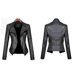 96081de664d Ladies Fashion PU Leather Motorcycle Jacket Bomber Long Sleeve Winter  Autumn Women Turn-down Collar Slim Short Coat Outwear