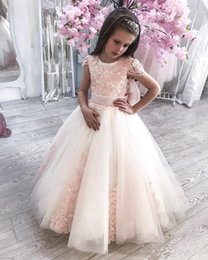 make bows ribbon for weddings NZ - Cute Princess Dress with Lace Appliques Bow Custom Made Flower Girl Dress For Wedding Cap Sleeves Vestidos De Fiesta Cheap Longo