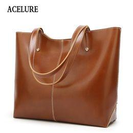 Tote Large Australia - Acelure Oil Wax Leather Women's Tote Large-capacity Women Shoulder Bag Classic Casual Tote Bags For Women 2018 Bolsa Feminina Y19061803