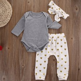 Baby Girl Leggings Sale Australia - new hot sales 3pcs Newborn Infant Baby Girls Clothes T-shirt Tops+Love Heart Pants Leggings+Headband Outfit Set