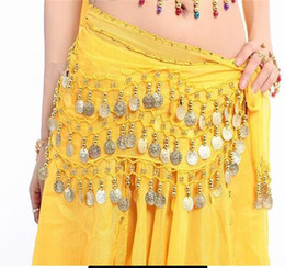 gold belly dance chains UK - 100pcs lot Wholesales fast New Style 128 gold coins belly dance waist chain hip scarf bellydance belt, 9 colors for your choice