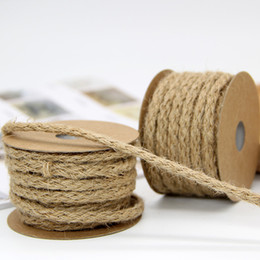 $enCountryForm.capitalKeyWord Australia - 6mm 60M Natural Burlap Hessian Jute Twine Cord Hemp Rope For Vintage Rustic Wedding Decoration Packing Supplies