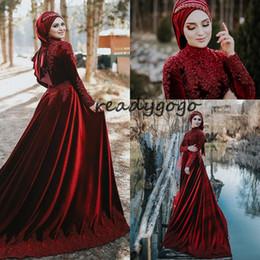 $enCountryForm.capitalKeyWord UK - 2020 Burgundy Velvet Muslim Wedding Dresses Luxury Lace Beaded High Neck Long Sleeve Arabic Kaftan Caftan Woodland Wedding Gown