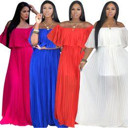 $enCountryForm.capitalKeyWord NZ - women short sleeve summer dress designer Ankle-length one piece dress high quality loose skirt elegant off shoulder clubwear klw1718