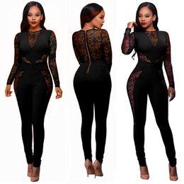 Wholesale black lace trousers resale online – Womens Slim Lace Floral Crochet Evening Party Playsuit Ladies Long Sleeve Bodycon Romper Jumpsuit Trousers Clothing Clubwear Top
