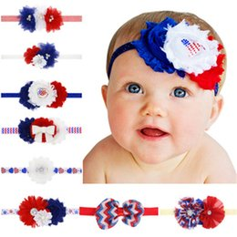 chiffon flower headband rhinestone Australia - baby Girls US Independence Day Headbands Rhinestone Chiffon Flower hair band Independence day children's headband stripe Headwear