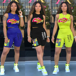 $enCountryForm.capitalKeyWord Australia - Brand Women Two Piece Sets Lips Heat Print Multicolor Sleeveless Vest Top Tees + Short Summer Designer Outfits Casual Sportwear C7810