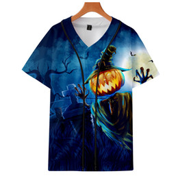 Wholesale baseball style shirts for sale – custom Halloween Hoodies Trend Thin Section Short Sleeve Baseball Shirts Male Female Style Hoodie