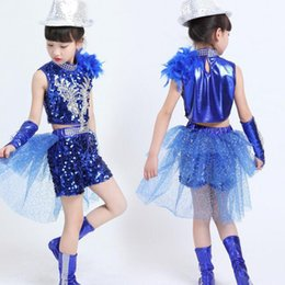 57750ebc6f67 Girls Sequined Hip Hop Performance Costumes Set Blue Black Boys Ballroom  Jazz Dance Clothes Kids Party Stage Wear Outfits