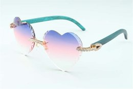Discount direct sales sunglasses Direct sales new heart shaped cutting lens endless diamonds sunglasses 8300687, teal natural wooden temples size: 58-18-135 mm