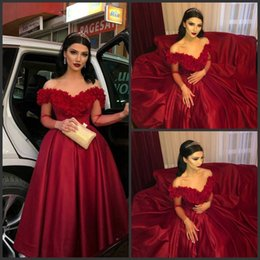 red long cocktail dress NZ - Red Satin Long Sleeve V Neck Short Evening Dresses Cheap 2019 Cocktail Party Evening Gowns Sleeves Special Occasion Dresses