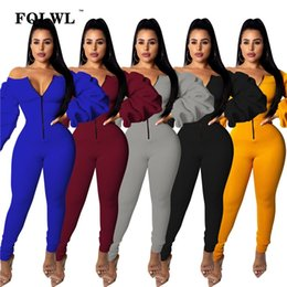 shoulder overall jumpsuits women NZ - wholesale Off Shoulder Sexy Jumpsuit Women Zipper Bodycon Long Sleeve Jumpsuits Overalls Streetwear Winter Rompers Womens Jumpsuit