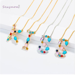 $enCountryForm.capitalKeyWord NZ - Multicolor fashion charm Gold 26 Alphabet pendant necklace micro pave zircon initial letter necklaces Couple Name necklace