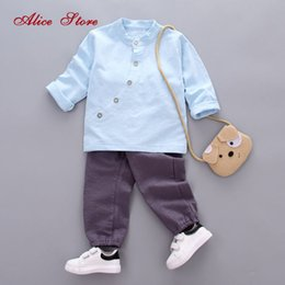 Boy Chinese Suit Australia - 2018 new autumn baby boys clothing sets children's linen clothing retro Chinese tops+pants 2 pcs suit kids clothes free