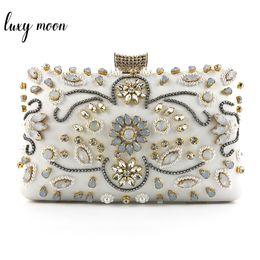 Hard bags for wedding online shopping - Rhinestone Beaded Clutch Bag For Women High Quality Crystal Evening Bag Wedding Clutches Purse Female Shoulder Chain Handbag