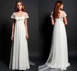 Boleros Champagne For Wedding Dresses Australia - Sheer Lace Bolero Cap Sleeves Wedding Dresses for Pregnant Women Empire Waist V-neck Illusion Back Elegant Beach Bridal Gowns