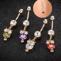 owl buttons Australia - Women Fashion Cute Crystal Owl Ruby Dangle Belly Button Navel Ring Body Piercing Jewelry