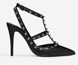 cheap high shoes Australia - 2019 Designer Luxury High Heels Toes Summer Sandals For Women Buckle Strap Rivets Heel Cheap Wedding Bridal Shoes high heels 6 8 10cm