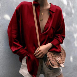 Wholesale women chic blouses online – Women Deep V neck Soft Satin Loose Shirts Fashion Female Blouse Tops Lady Girls Casual Long Sleeve Office Ladies Shirt Chic Top