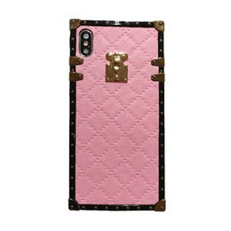 Discount pink border iphone - One Piece Fashion border Lozenge Grid Phone Case for XR XS MAX X 6 7 8 Plus Soft TPU Cover Cover for gifts