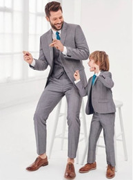 $enCountryForm.capitalKeyWord Australia - Hot Grey Father And Son Suits Suits Family Matching Formal Tuxedo Groom Wedding For Men Kids Boy Party Prom Blazer Suit