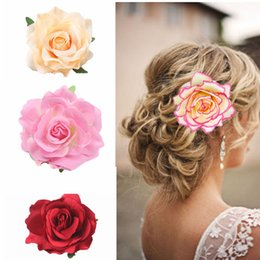 Holiday Hair Australia - European and American bride holiday headdress accessories, imitation flower dance performance hair ornaments, red rose hairpin