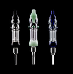 honey straw bong UK - Colored 510 Thread Mini Glass Water Bongs Dab it Pipes With 510 Titanium Ceramic Quartz Nail Mini Honey Glass Dab Bongs Straw Pipes
