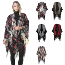 Wholesale red plaid cardigan for sale – plus size Women Wool Scarf Cardigan cm Patchwork Plaid Poncho Cape Tassel Winter Warm Blanket Cloak Wrap Shawl outwear Coat LJJA2983