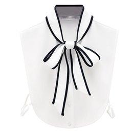 Поддельные Воротник Связали Бантом Шифон Ложные Воротник Отворотом Блузка Дамы Половина Рубашка Белый