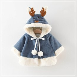 Cartoon Girl Hood Australia - Autumn and winter girls cartoon antler hooded jacket warm cute and comfortable wool sweater coat