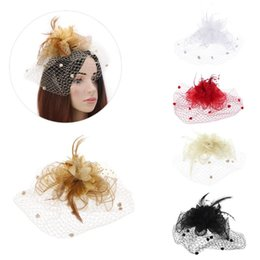 mesh veils UK - Mesh Flower Veil Feather Hair Clip Bridal Wedding Headpiece Bowknot Wave Point Ball Hairpin Beaded Cocktail Party Wear