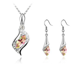 Crystals Australia - Top Quality Tear Drop Earring Necklace Jewelry Sets Made with Crystals From Swarovski For Bridal Wedding Party Christmas Bijoux Gift