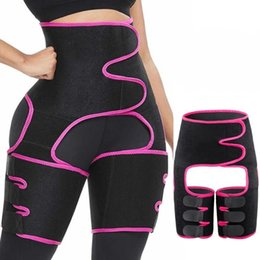 Wholesale thighs shaper resale online - US Ship Waist Trainer in Thigh Trimmers with BuLifter Body Shaper Arm Belt For Waist Support Sport Workout Sweat Bands