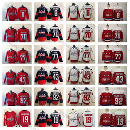 2018 Stanley Cup Washington Capitals 77 TJ Oshie Alex Ovechkin Evgeny Kuznetsov Braden Holtby Nicklas Backstrom Tom Wilson Maglia da uomo Hockey in Offerta