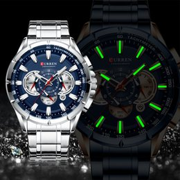 CURREN New Causal Sport Chronograph Men's Watch Stainless Steel Band Wristwatch Big Dial Quartz Watches with Luminous Pointers T200113 on Sale