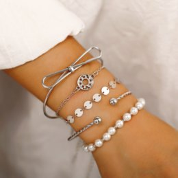 bracelet dreamcatcher Australia - Retro Fashion Jewelry Accessorines Dreamcatcher Sequin Pearl Bow Bangles Beads Warp Chain Charm Multilayer Bracelets For Women 5 Pieces set