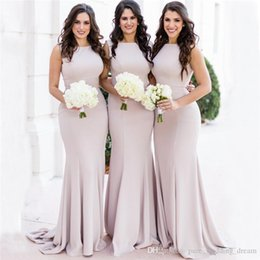 Bridesmaids dresses for Beach weddings online shopping - 2019 Elegant Cheap Stunning Bridesmaid Dresses Square Neck Matt Stretch Satin For Beach Wedding Romantic Evening Gowns