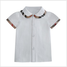 Wholesale Lovely Girls Short Sleeve Shirts Summer Kids Turn-Down Collar Plaid Shirt Children Cotton Casual Shirts Baby Girl Tops