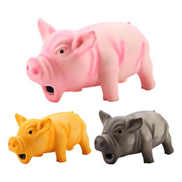 pink pig toys Canada - Cute Latex Pig Grunting Toy Pet Chew Teeth Grinding Toys For Dog Training Black Yellow Pink Pets Dog Squeeze Sound Toy