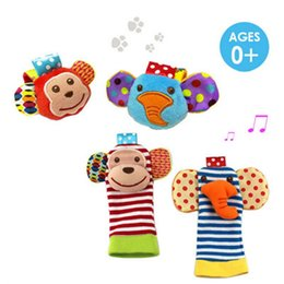 baby rattle toys lamaze UK - babys toy Wrist rattle & foot finder Baby toys Set Baby Rattle Socks Lamaze Plush Wrist Rattle+Foot baby Socks set Christmas Gift