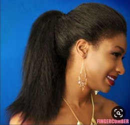 Black Hair Sale Australia - Hot Sale Kinky Straight Virgin Human Hair Malaysian ponytail for black women, Clip In Hair Extensions wrap Around Tail Free Shipping 120g