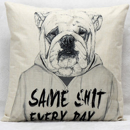 $enCountryForm.capitalKeyWord Canada - Hipster Animal Bulldog Cushion Covers Hand Painting Dog With Clothes Cushion Cover Sofa Throw Decorative Beige Linen Pillow Case