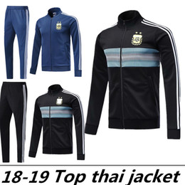 Wholesale 2018 Argentina Training Tracksuit Jacket Mens Argentina Soccer Jacket Suit Set Soccer Tracksuit Black Pants Sportwear